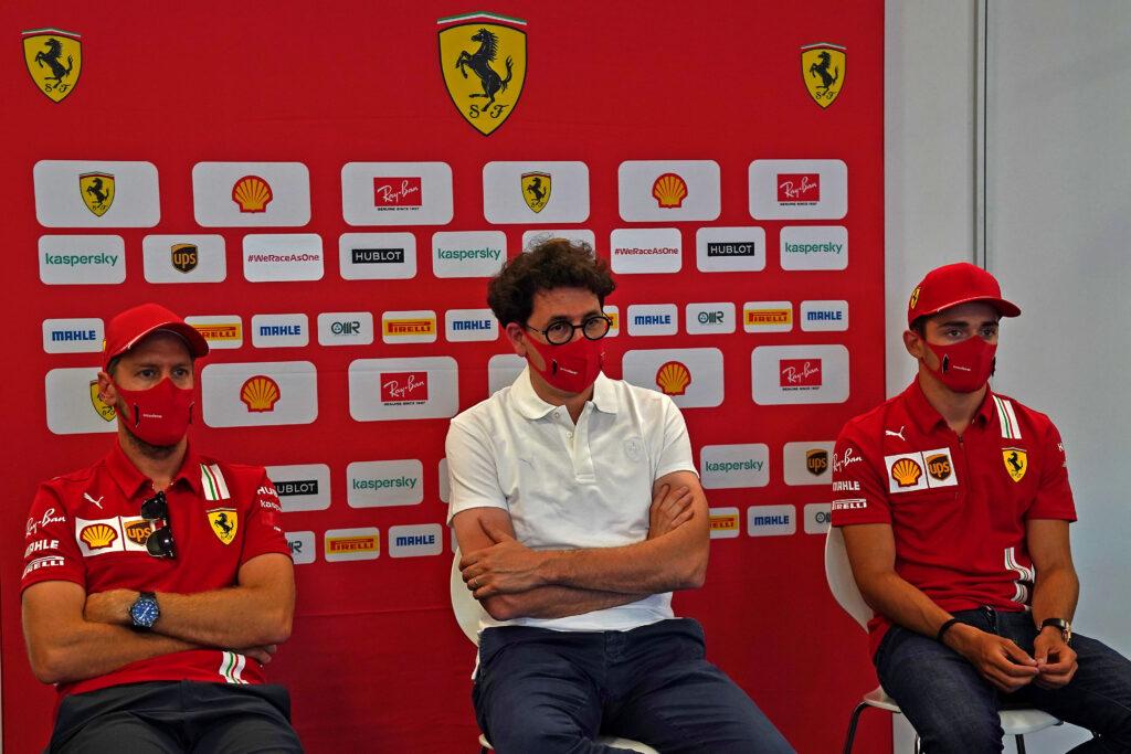 Sebastian Vettel, Mattia Binotto e Charles Leclerc