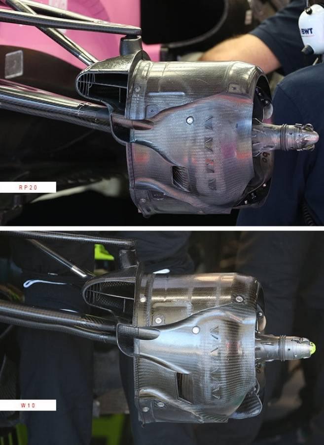 Detalhes dos dutos de freio da Racing Point e da Mercedes de 2019
