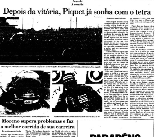FOLHA DE S.PAULO; GP DO JAPÃO; 1990; FÓRMULA 1;