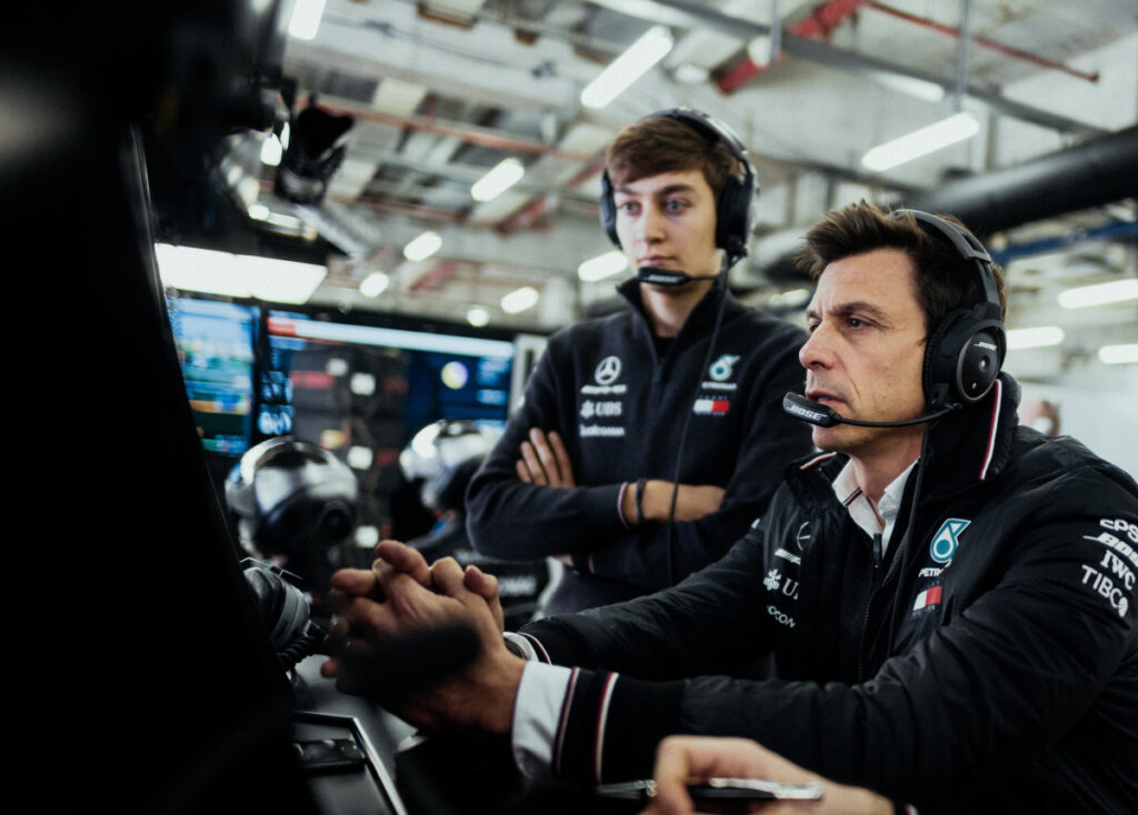 TOTO WOLFF; GEORGE RUSSELL;